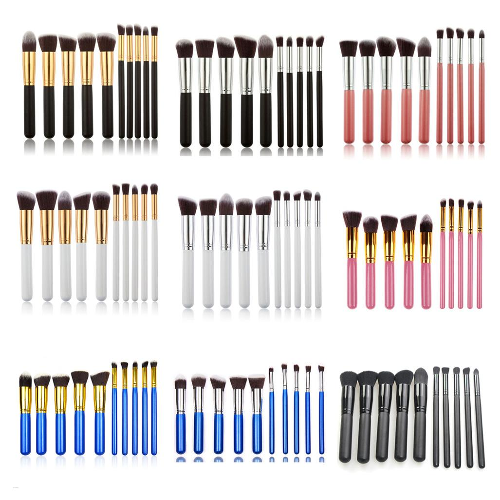 2019 Good Quality regular 10 makeup brushes 5 big 5 small fiber wool makeup brushes available from stock