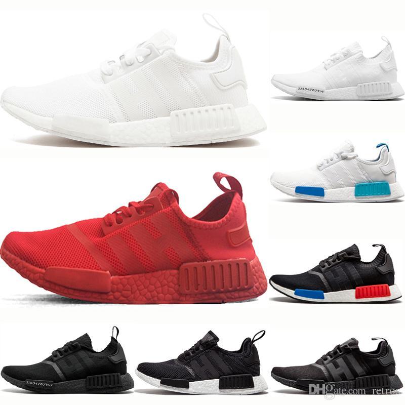 Adidas nmd R1 R1 pas cher Chaussures de course Hommes Femmes Japon Triple Noir Blanc Rouge Gris