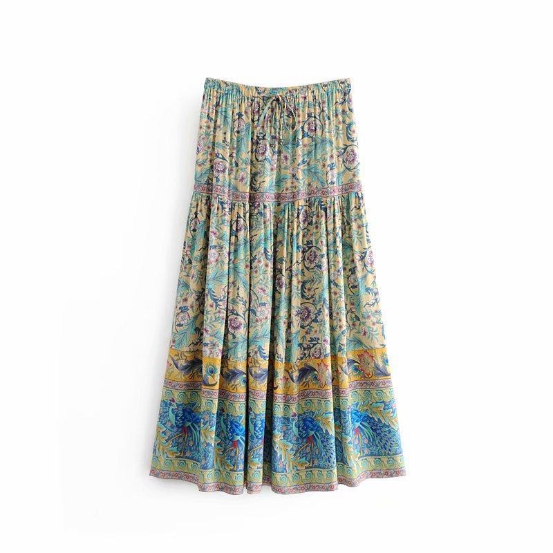 4f413a1dfb8b56 2019 QZ8828 Women Elastic Waist Color Block BoHo Design Viscose Skirt  Ladies Chic Middle Long Skirts Saias From Aprili, $28.29 | DHgate.Com