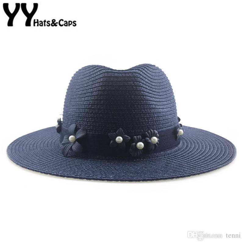 748bc76d341 Navy Color Panama Hat For Women Straw CAP Floral Pearl Sun Hat Elegant Lady  Sun Visor Cap Wide Brim Gangster Beach Hats YY18105 Baby Sun Hat Summer Hats  For ...