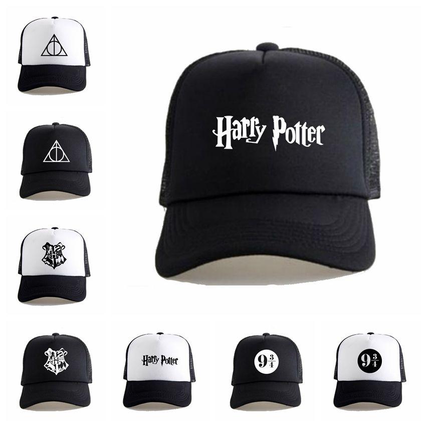 107ea0de7f2d2 Harry Potter Deathly Hallows Hat Fashion Mesh Trucker Cap Creative Snapback  Baseball Hat Unisex Cosplay Costume Caps TTA780 Cheap Maternity Shirts  Maternity ...