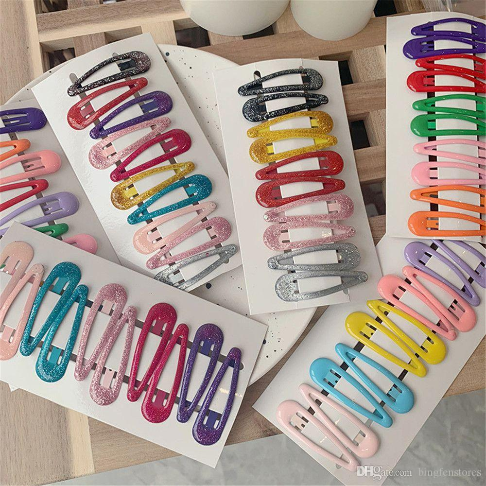 100pcs/set cute Snap Hair Clips Candy Color Bobby Pin Metal Hairpins Barrettes for Children Women Girls Hair Accessories