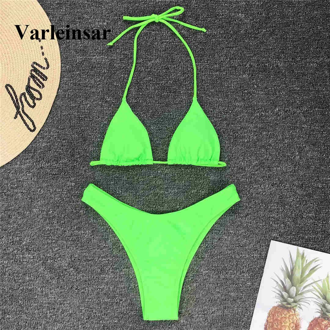 5ce963601302 Compre Sexy Neon Verde Biquíni 2019 Mulheres Swimwear Feminino Maiô Two  Peças De Biquíni Conjunto De Alta Corte De Perna Banhista Maiô De Natação  V1487 De ...