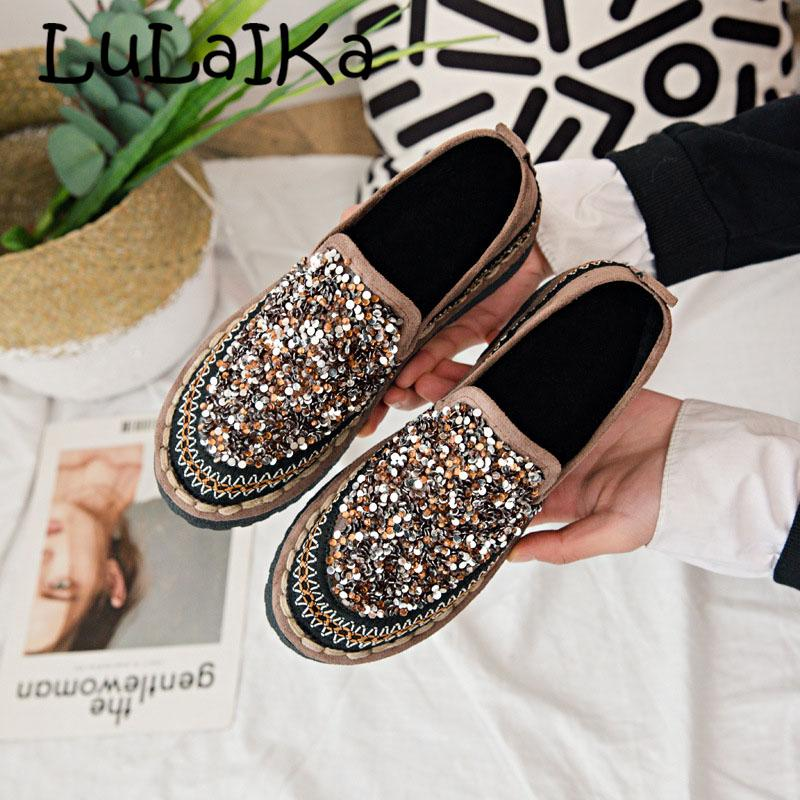 93f5561d620 Sexy Silver Glitter Flats Women Shoes Round Toe Thick Bottom Soft Heels  Espadrilles Mixed Colors Crystal Sewing Loafers Ladies Cheap Shoes Shoes  For Women ...