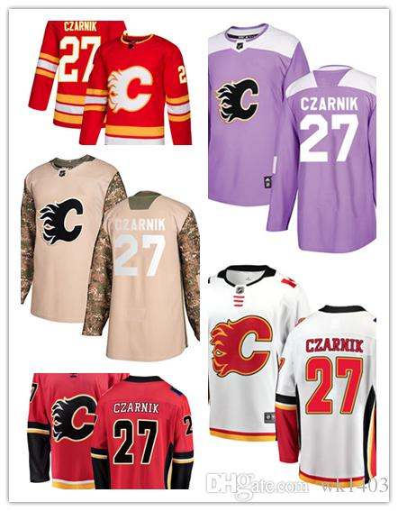 san francisco 1a148 8a4f2 Calgary Flame jerseys #27 Austin Czarnik Jersey hockey men women youth  Alternate red home white away Stiched USA Flag fashion Jerseys