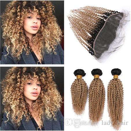 Kinky Curly Malaysian Virgin Human Hair Honey Blonde Ombre Weaves with Frontal Closure #1B/27 Blonde Ombre 13x4 Lace Frontal with Weaves