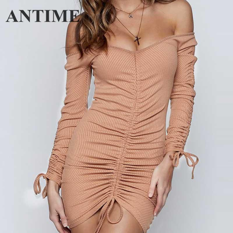 9c680b09db85 ANTIME Short Sexy Dress Long Sleeve Khaki Bow Sheath Casual Women ...
