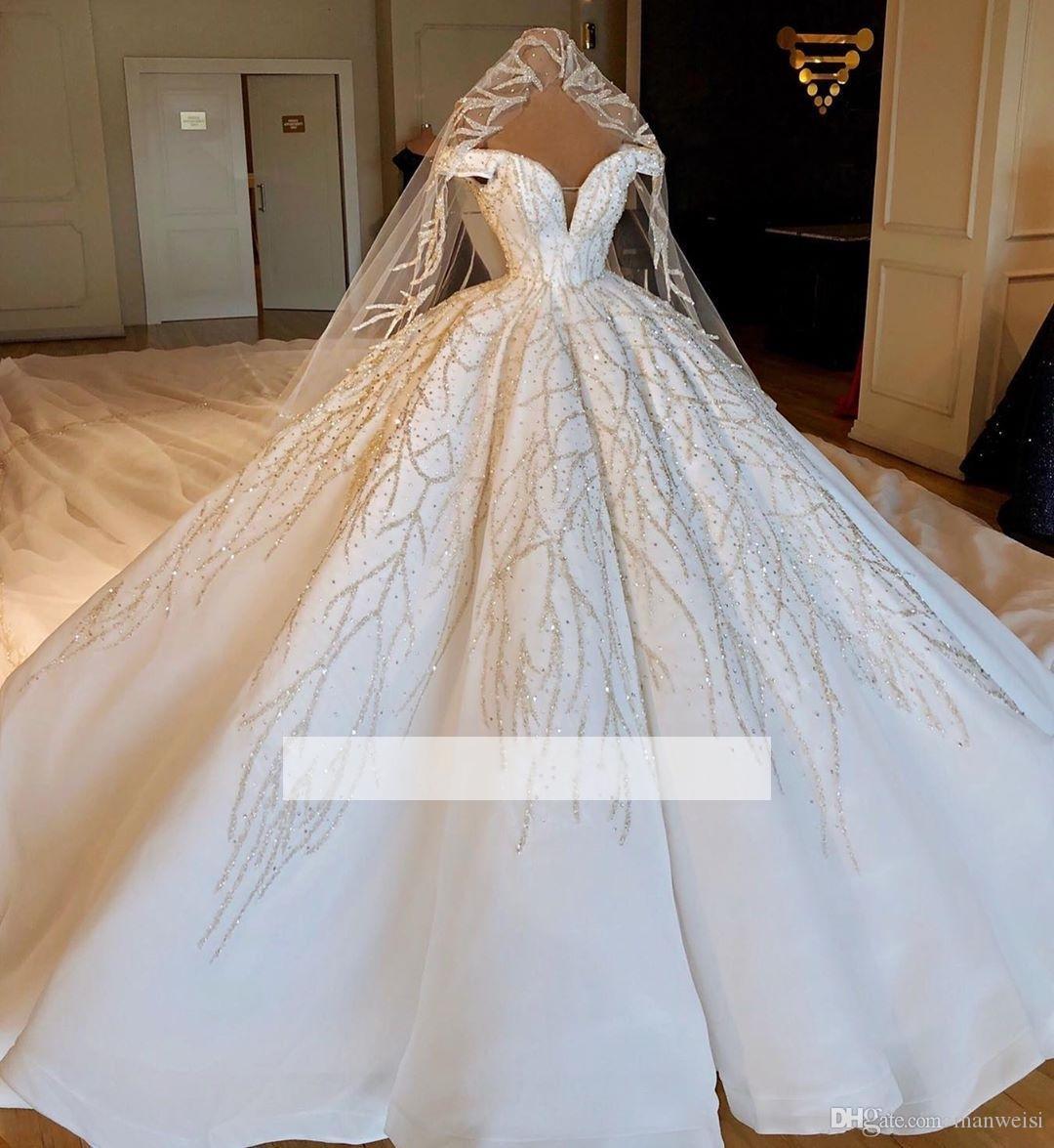 2019 Luxe Robes De Mariée Robe De Bal Bouffante Hors De L Epaule Perlage Princesse Robes De Mariée Robes De Fiançailles Cathédrale Train