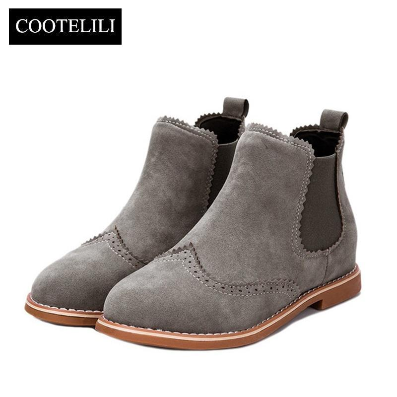 b18975f62029 COOTELILI Brand Women Ankle Boots Flat Heels Shoes Woman Suede Leather Boots  Brogue Cut Outs Slip On Black Gray Plus Size 40 Slipper Boots Ankle Booties  ...
