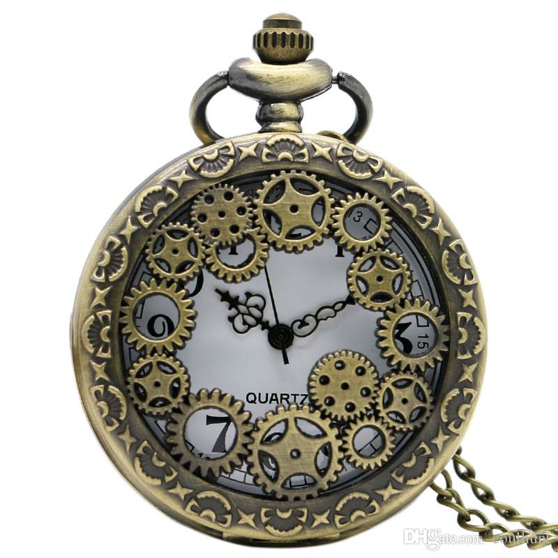 Retro Bronze Gear Hollow Pocket Watches Necklace Antique Copper Steampunk Vintage Quartz Pocket Watches With Chain Gift for Lovers