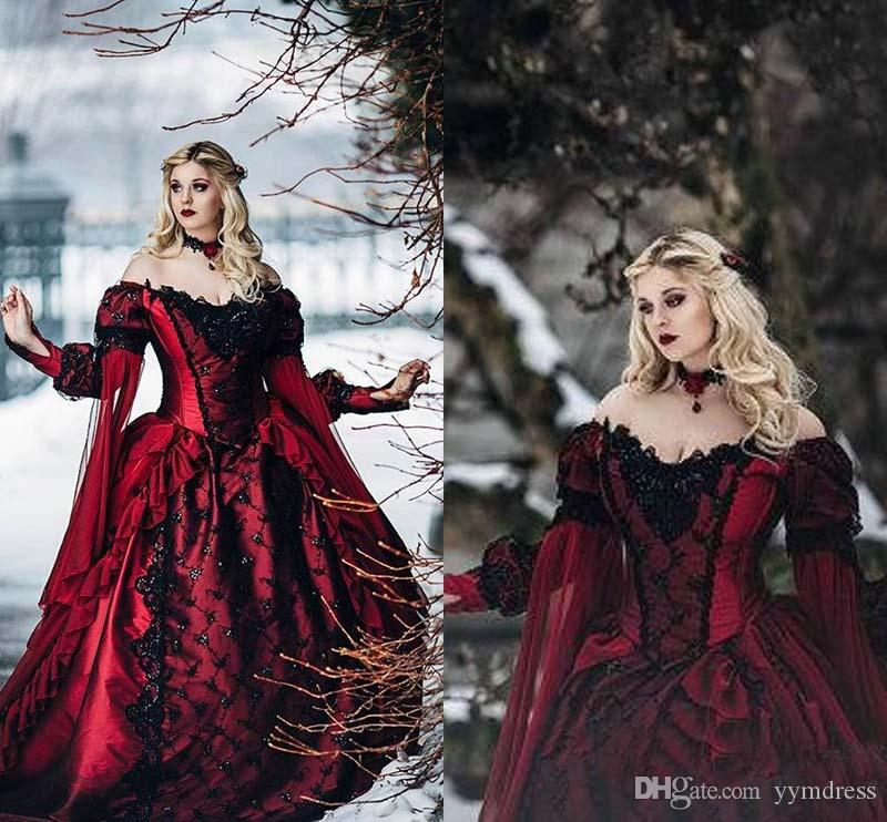 0e36f0b69436a 2019 Gothic Sleeping Beauty Princess Medieval Red and Black Ball Gown  Wedding Dress Long Sleeve Lace Appliques Victorian masquerade Bridal