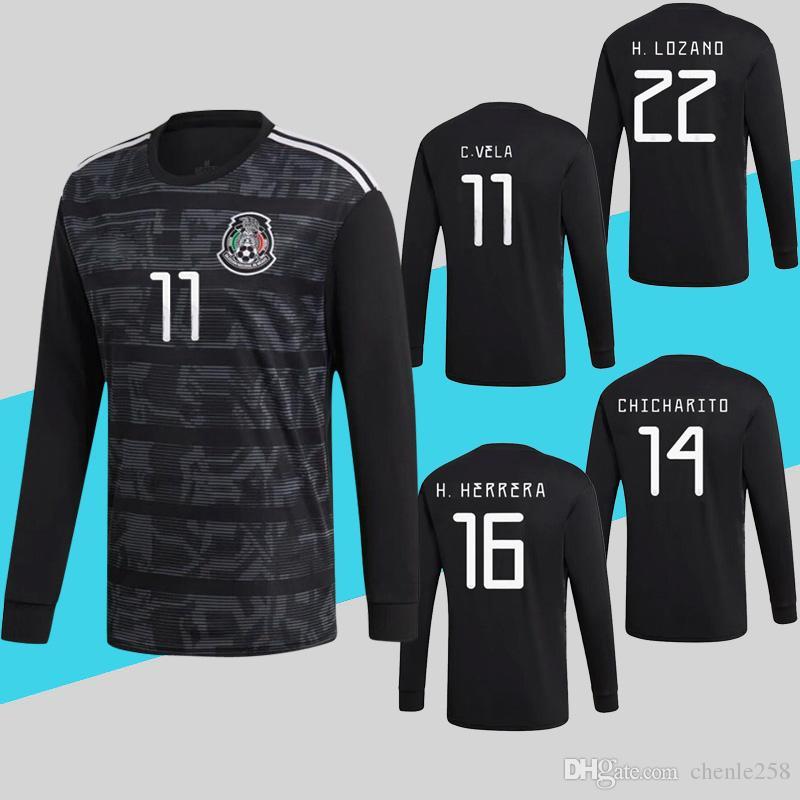 5912a41c4bf Compre México Mangas Compridas 2019 Taça De Futebol De Futebol Jersey Preto  Camisa De Futebol VELA LAINEZ JIMENEZ Mais Frete Grátis DHL De Chenle258