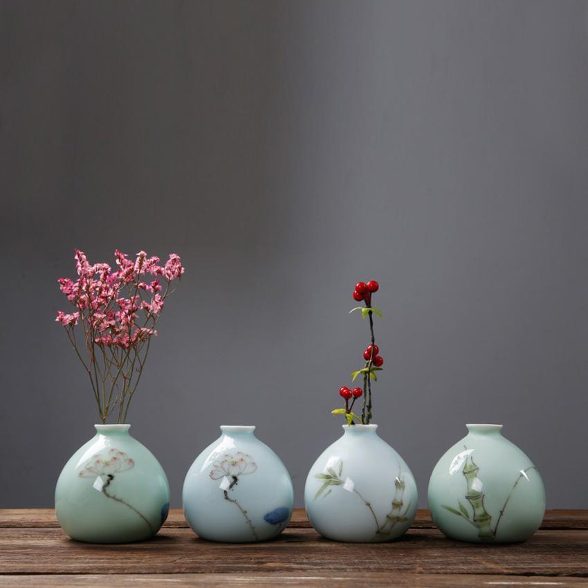 Hand Painted Small Vase Ceramic Mini Home Decoration Celadon Vase Hydroponic Flower Creative Flower Insert Container Turquoise Floor Vases Turquoise Vases ... & Hand Painted Small Vase Ceramic Mini Home Decoration Celadon Vase ...