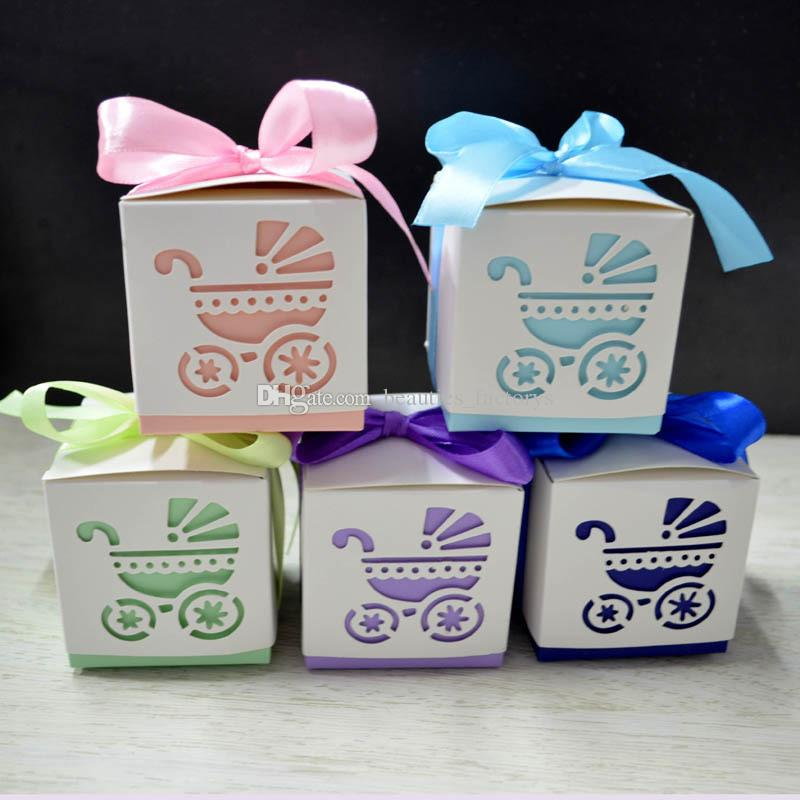 100pcs Baby Carriage Hollow Candy Box Baby Shower Sweet Gift Boxes Wedding Party Decoration Favors Multi Colors