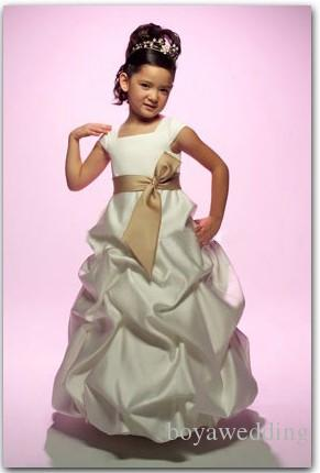 3357 Elegant Satin Childrens bridesmaid princess flower girl dress Communion Dress Custom-Made