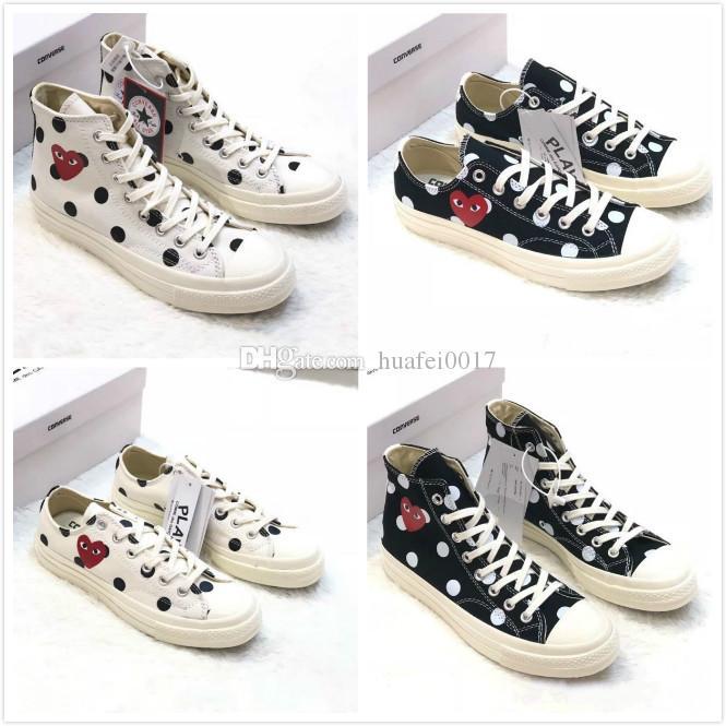 2019 Nueva zapatilla Play All Stars CDG Canvas Conjuntamente grande con ojos Corazones Marca Beige Negro diseñador niños casual zapatillas de