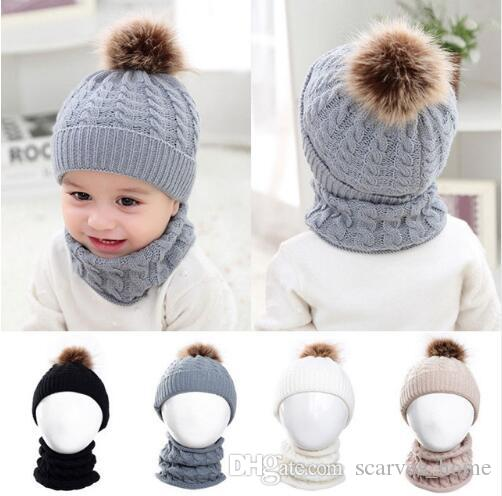 255089becac 2019 Baby Kids Knitted Hat Scarf Children Winter Warm Pompom Fur Caps Beanie  Cute Boys Girls Pom Pom Hats Ring Scarves Suit From Scarves home