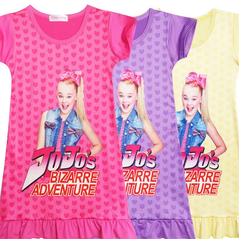 3e8cf2d0782 2019 2019 INS Girls Jojo Siwa Dress T Shirt Dresses New Kids Cartoon Print  Princess Pattern Short Sleeve Shirt Summer Clothes 110 150 Size A2204 From  ...