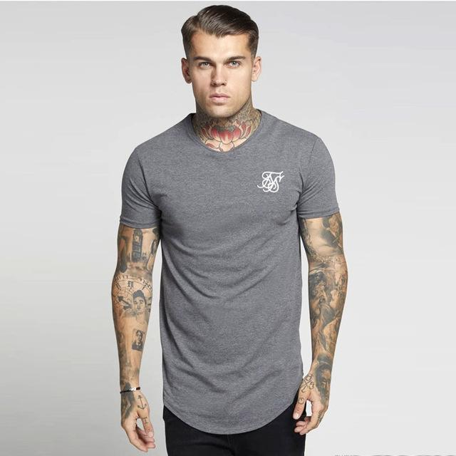 Fashion-Men ss Sik Silk Kanye West Sik Silk Men Casual Hip Hop Irregular Curved Hem Short Sleeved T-shirts Black White gray