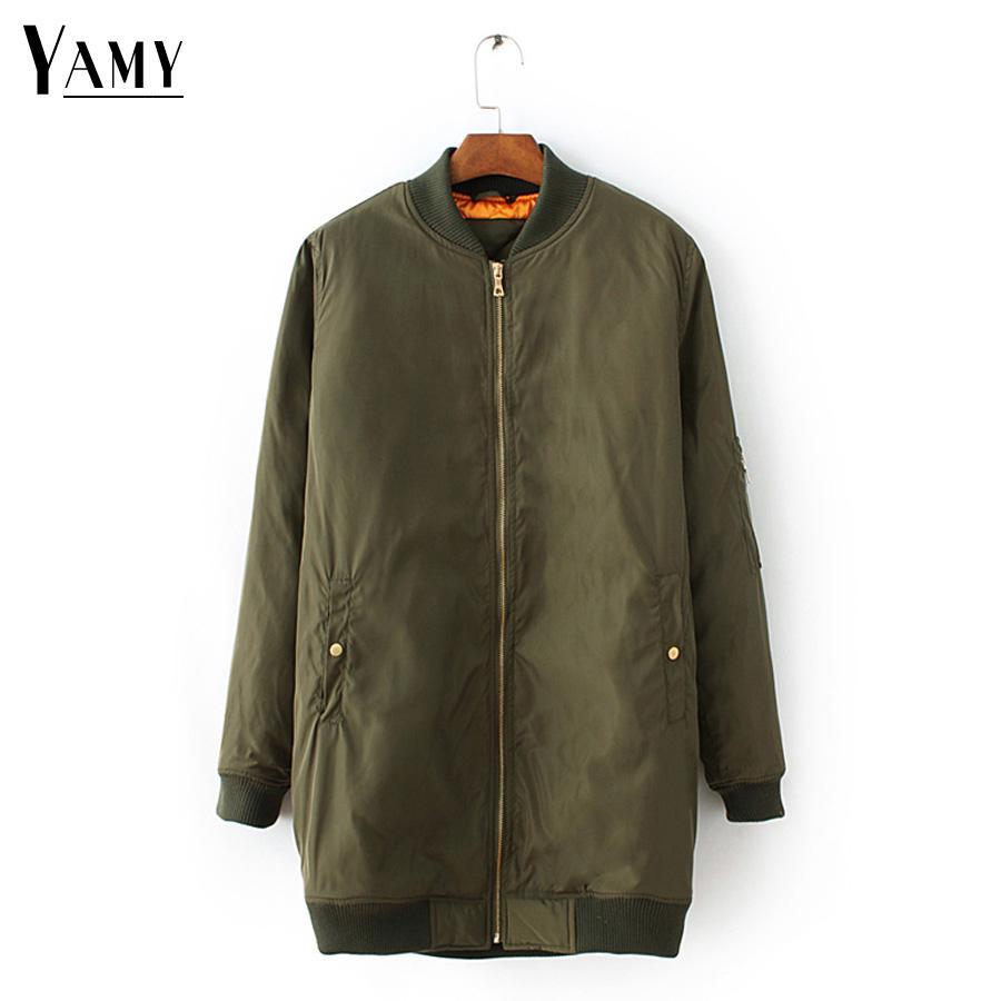 2e61a8dafc Long Coat Women Jacket Winter Spring Army Green Black Bomber Jacket Woman Plus  Size Streetwear Korean Outerwear Womens Cheap Jackets Spring Jacket From ...