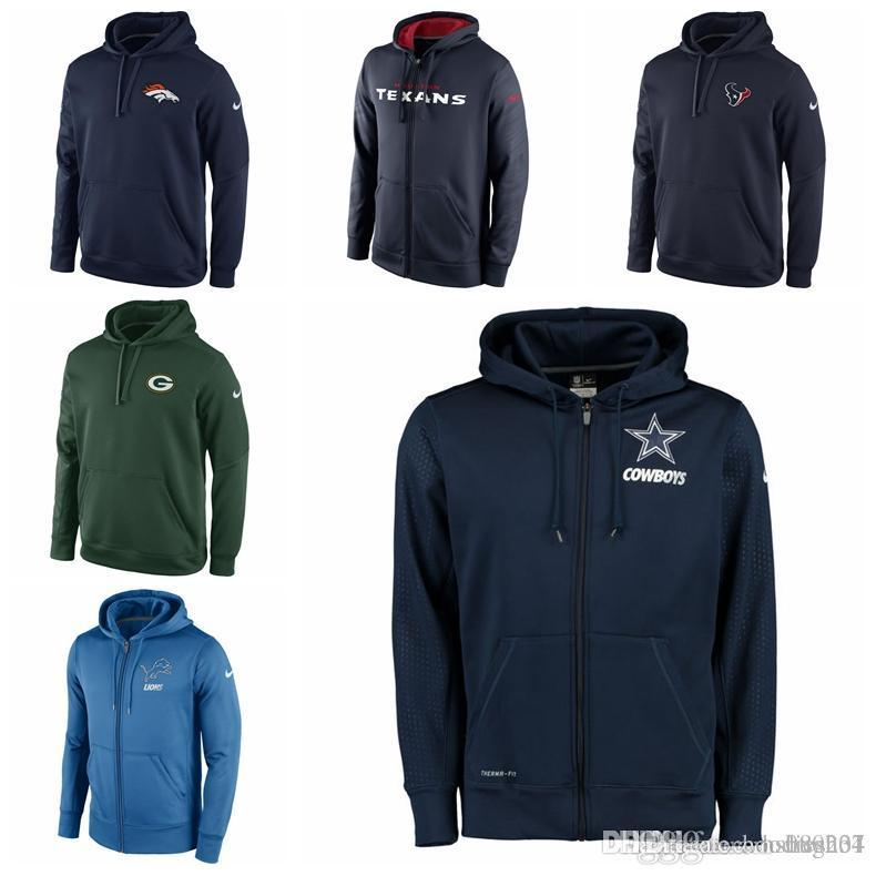bc18129eef1 2019 MENS HOUSTON TEXANS GREEN BAY PACKERS DETROIT LIONS DENVER BRONCOS  DALLAS COWBOYS NAVY BLUE KO CHAIN FLEECE PULLOVER PERFORMANCE HOODIE From  Hxxy88
