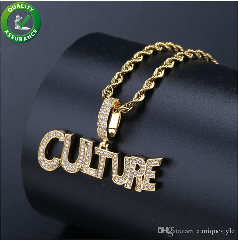 b54b60af0b983 Iced Out Pendant Custom Bubble Letter CULTURE Initial Gold Chain Pendants  Hip Hop Jewelry Mens Diamond Luxury Designer Necklace Rapper Charm