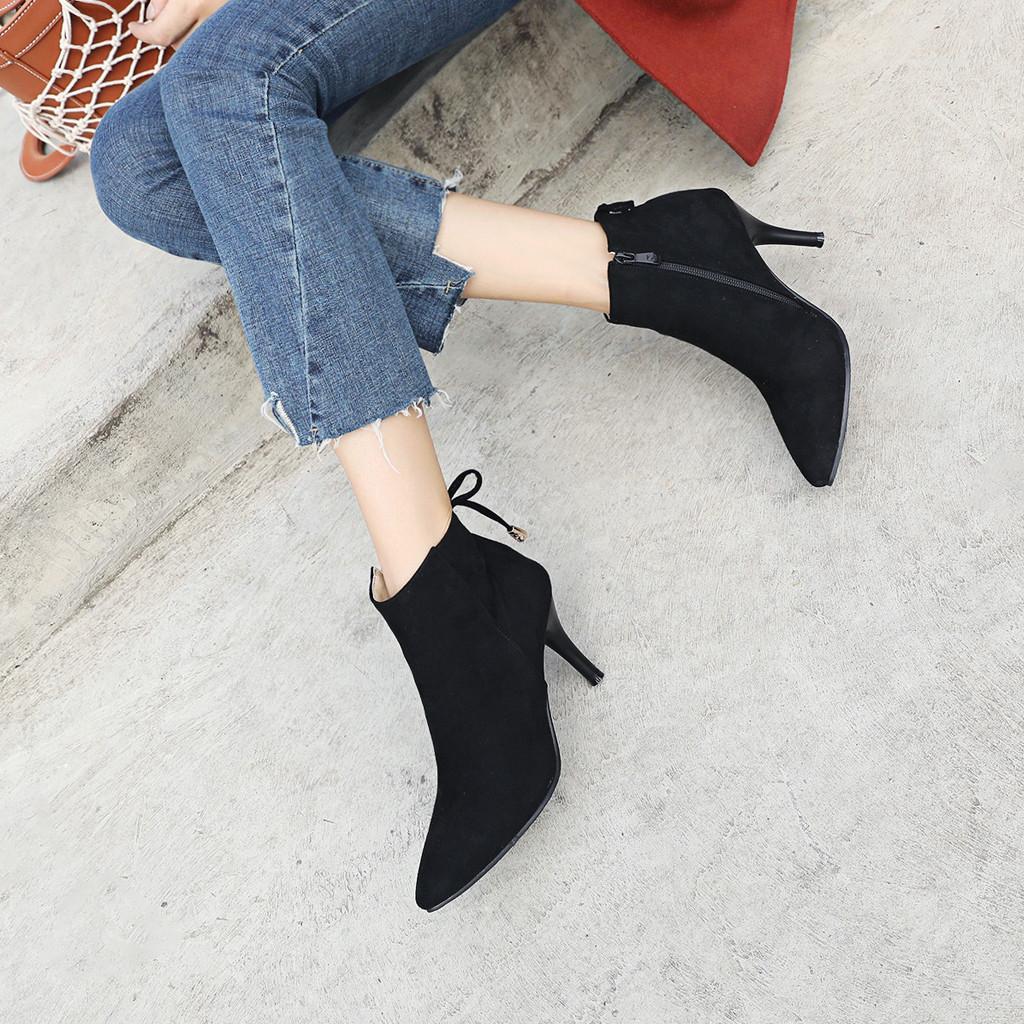 ac232f53 Compre Zapatos De Estilete Puntiagudo De Las Mujeres Con Cordones De Arco  Botines Con Cremallera Lateral Botas De Mujer Zapatos De Mujer Zapatos De  Mujer ...