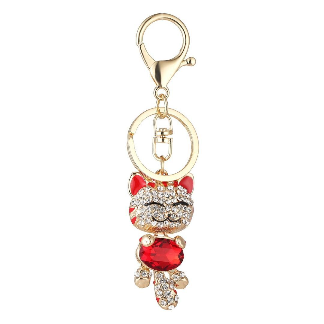Lovely Cute Smile Cat Pendant Rhinestone Keychain Car Key Ring Keyfob Key Holder For Women Ladies Girls 9874