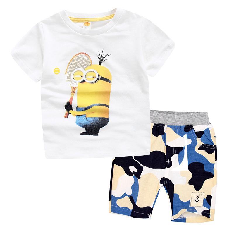 48a2ac32e Children Clothing Minions Boys Cotton T-Shirt+Shorts Camouflage ...