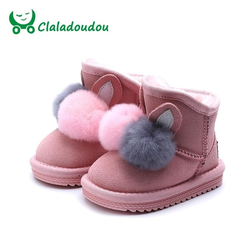 19a9f6aa306 Size21 37 Toddler Cartoon Snow Boots Children Brand Baby Girl Fashion  Genuine Leather Boots Kid Black Warm Pompon Ankle Boot Y18110304 Boys Brown  Casual ...