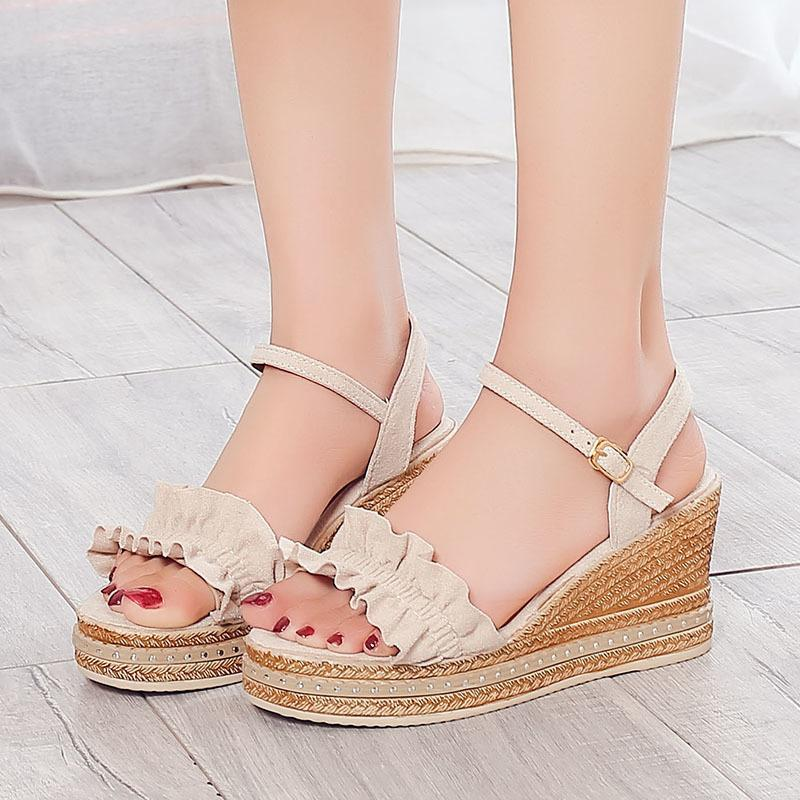 Lovely2019 Joker Lace Slope con zapatos de mujer Plataforma impermeable Toe Mujer Sandalias