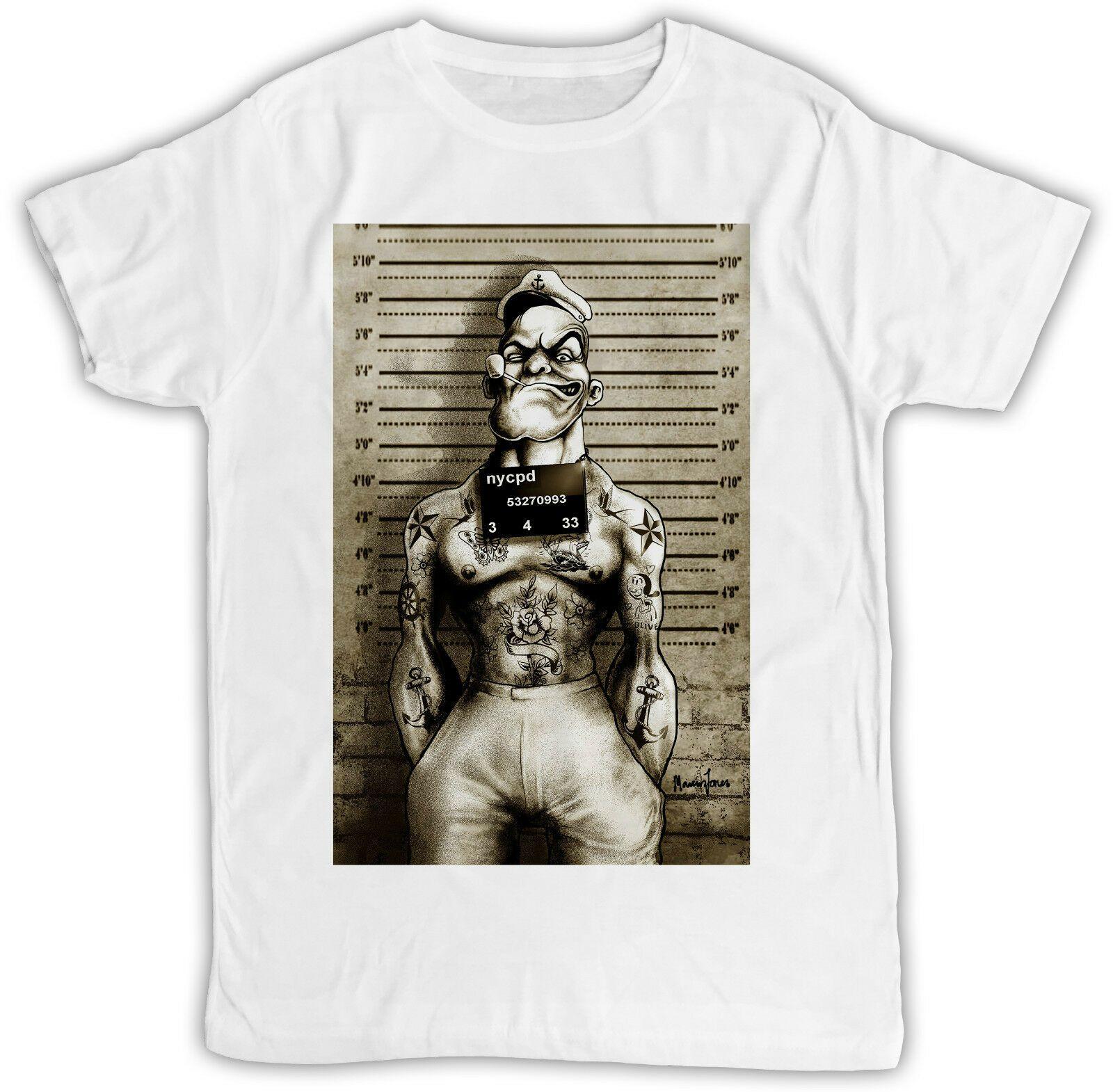 POPEYE TATTOO MUGSHOT POSTER IDEAL BIRTHDAY GIFT COOL SHORT SLEEVE MENS T SHIRT Cheap Wholesale Tees Summer MenS Fashion Tee Humorous Shirts