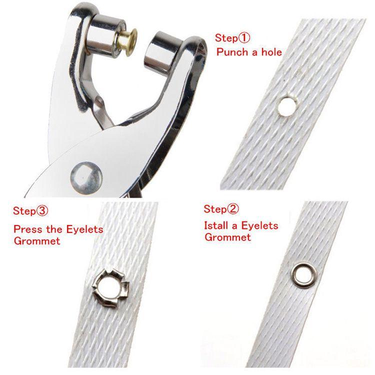 acciaio occhielli Occhiello + Rivetti Pinze carbonio Strumento Calzature Borse Cintura in pelle fai da te Abbigliamento indumento di cucito di punzonatura