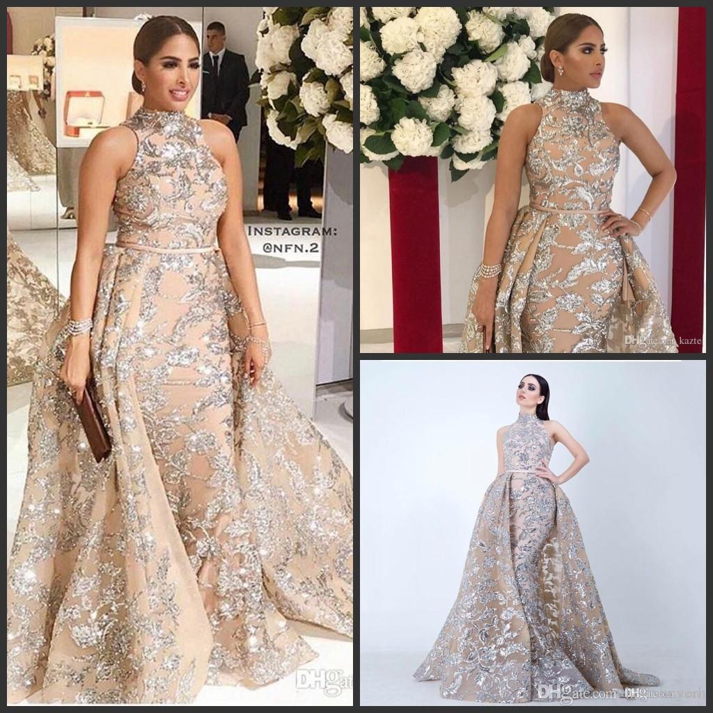 71da698c82 Sequined Appliques Mermaid Overskirt Elegant Evening Dresses 2018 Yousef  Aljasmi Dubai Arabic High Neck Plus Size Occasion Prom Party Dress