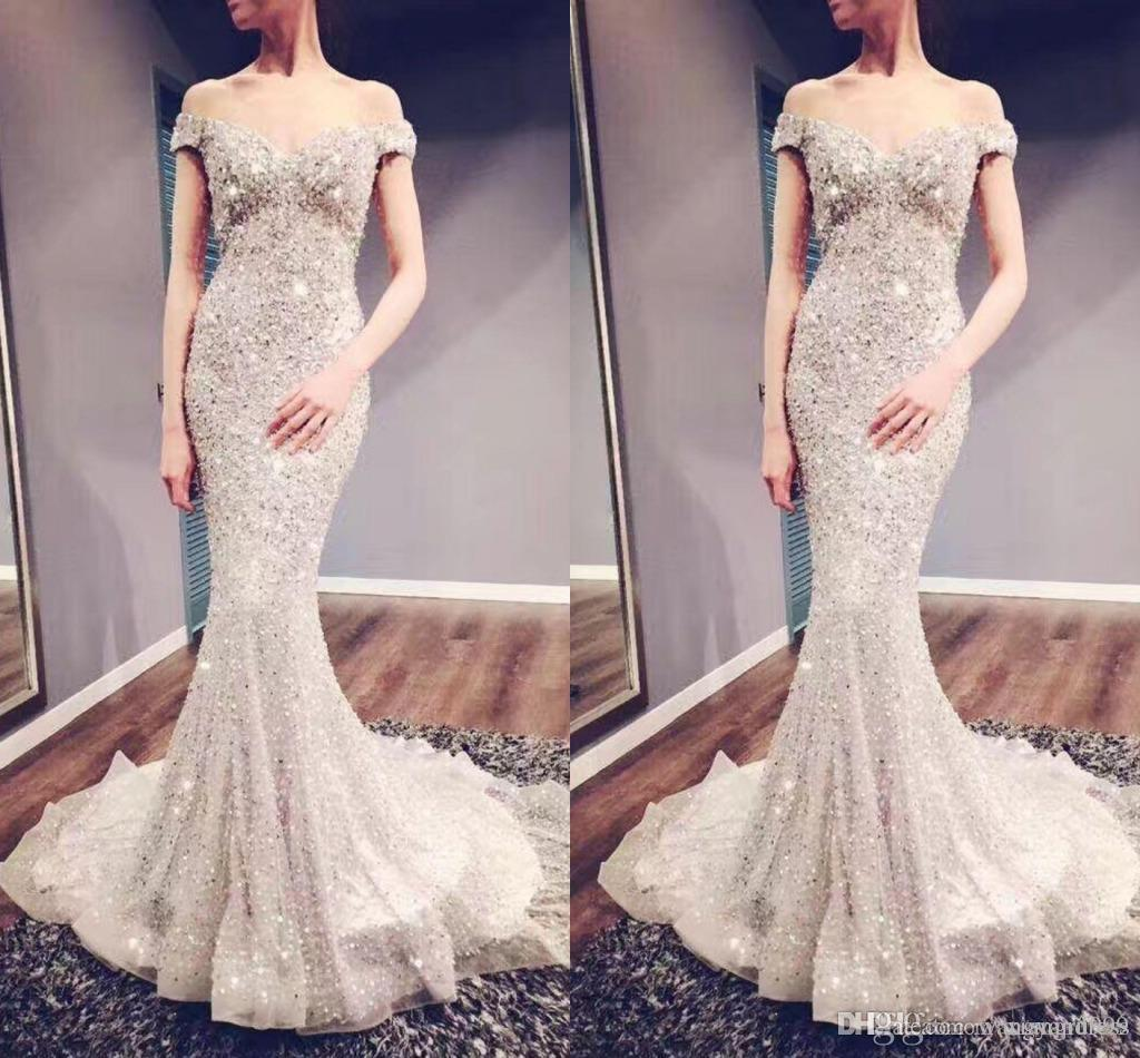 Lussuoso Shining Crystal Beading Abiti da sera Off spalla Sweep treno Mermaid Prom Dress Bling Bling Custom Made vestito occasione speciale