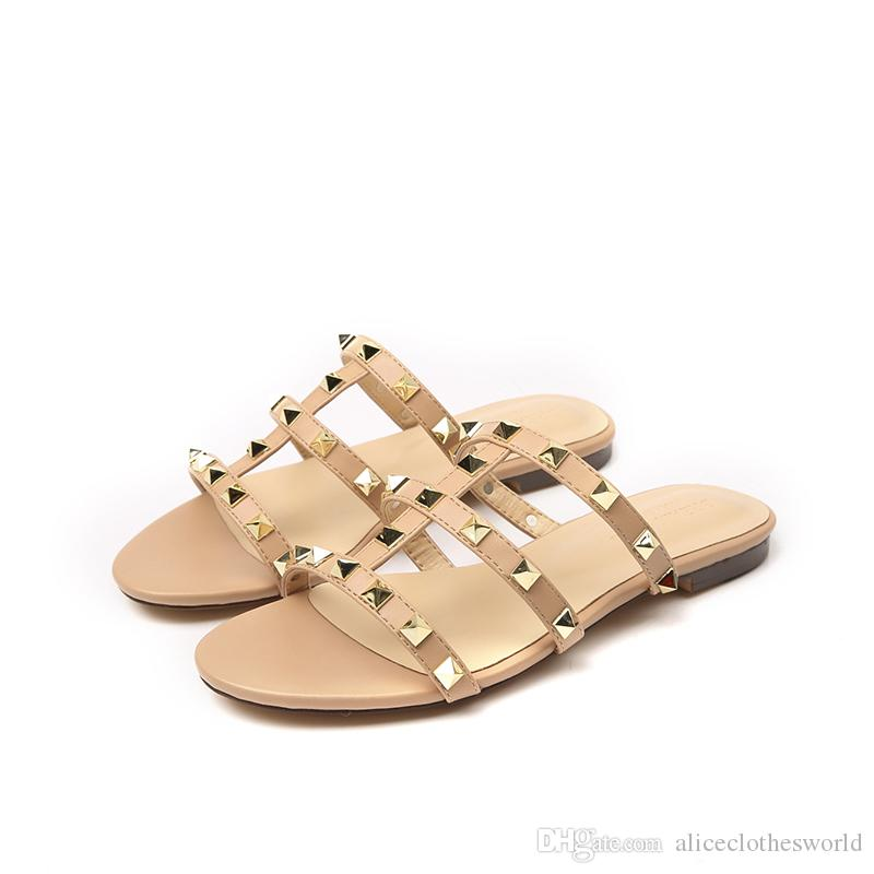981fb692ce68 2019 Fashion Woman Gladiator Flat Sandals Gold Rivets Beach Slipper Summer  Shoes Spike Flip Flop for Women Gladiator Flat Sandals Beach Slipper Summer  Shoes ...