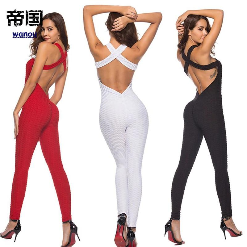 5951b338ef61 2019 Fitness Clothing Yoga Set Sport Wear Women Sexy Backless Tracksuit  Running Jumpsuit Sport Suit Gym Yoga Leggings Sportswear From Diguowanou