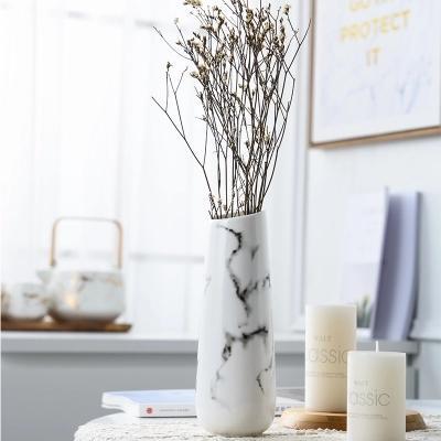 2019 Marble Flower Inserted Ceramic White Tabletop Vase Home