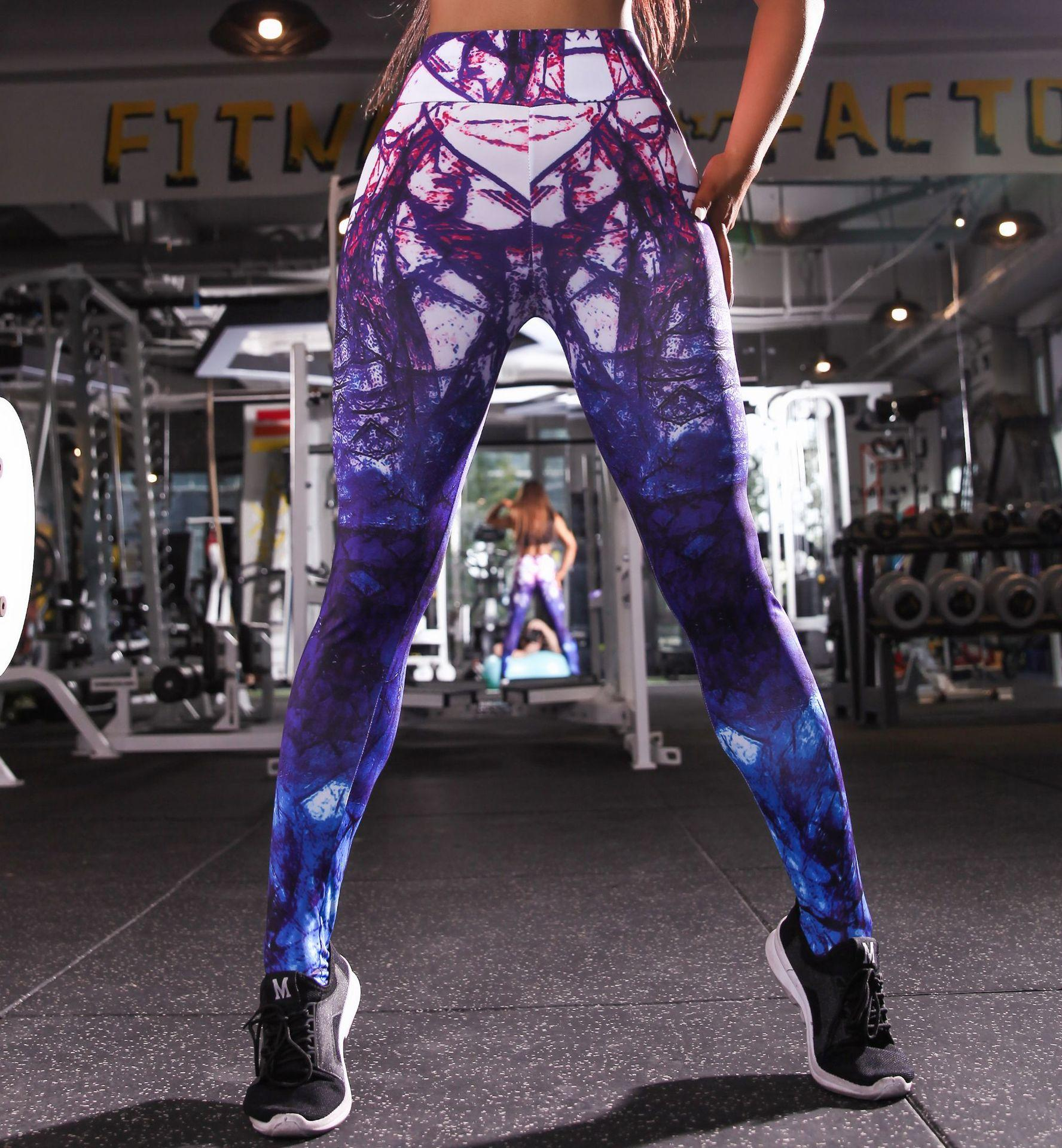 fefb10e5d443a 2019 2019 New Printed Gym Yoga Pants Fashion Sexy Mixed Color Fitness  Leggings High Waist Digital Casual Sweatpants From Seanliugao, $10.05 |  DHgate.Com