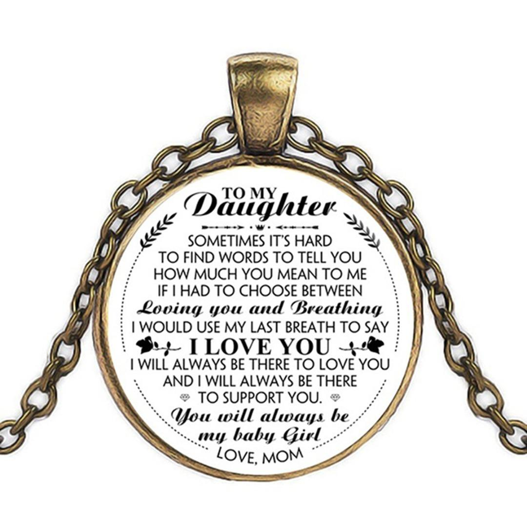 Vintage Charm Letter To My Daughter Pendant Necklace I Love You Long Chain  Necklace Sweet Gift From Mom Shellhard Female Jewelry
