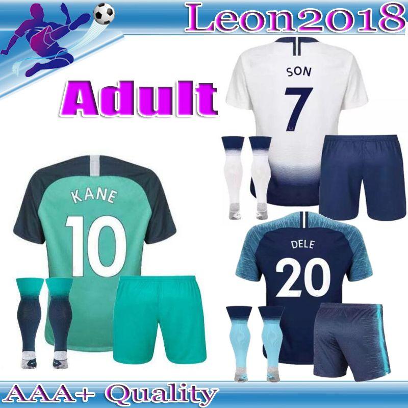 b84bdefab 2019 18 19 Adult Home Soccer Jersey Kits 2018 2019 Spurs Dier Kane Son  Alderweireld Eriksen Dele Lamela Third AWAY Men Football Jerseys Shirt From  Leon2018