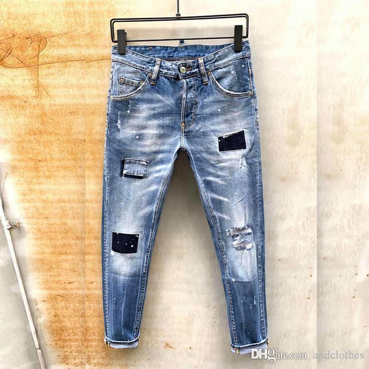 mens designer jeans Men's pants Fitted casual latest explosion trend fashion mens Europe and America Trend youth skinny jeans