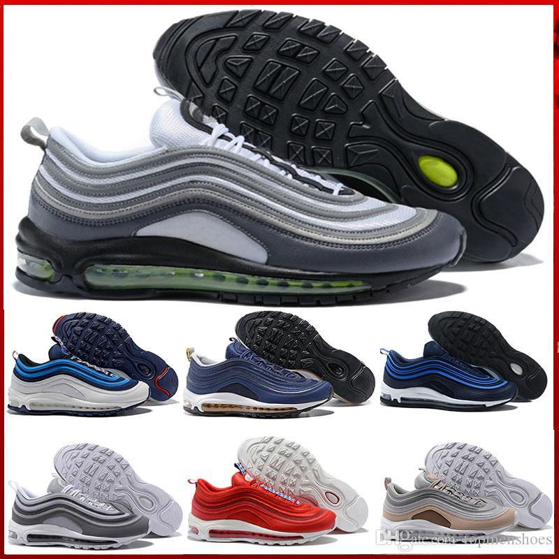 9752e4dfe4b Compre Nike Air Max 90 Airmax Homens 97 Ultra Air Off Running Shoes Marca  Designer Para As Mulheres Triplo Preto Branco Metálico Edição De  Aniversário De ...