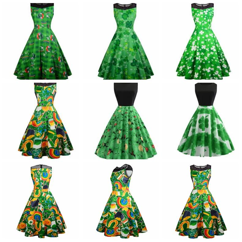 a8d14578f St. Patrick's Day Dress Vintage Sleeveless Clover Print Wedding ...