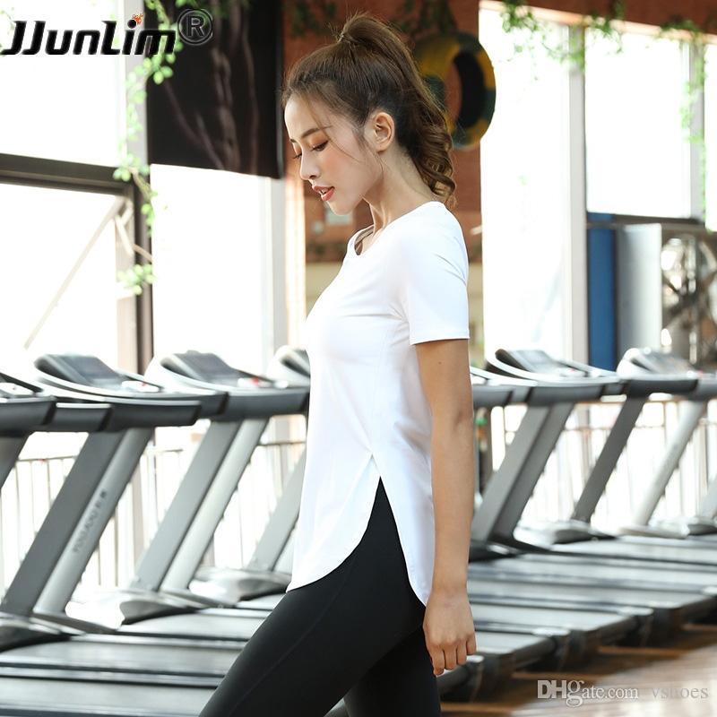 9563e7a0ff 2019 Sport Shirts Women Yoga Shirts Short Sleeve Sport Running Vest Gym  Tank Top Female Fitness Shirts Side Slit Women Sportswear Top #309242 From  Vshoes, ...