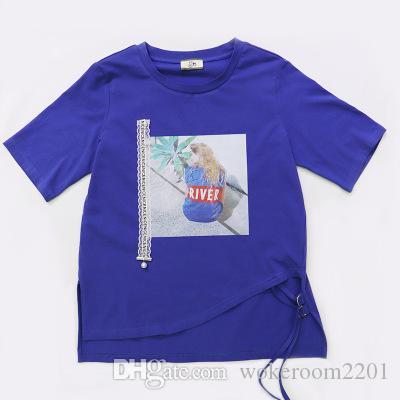 243713728e3c8 Satın Al Kadın T Shirt Basit Baskı Desen Moda Stil Mavi Dibe Kadın Pamuklu  Kumaş Kadın Gömlek Hem Yarık Kravat, $22.12 | DHgate.Com'da