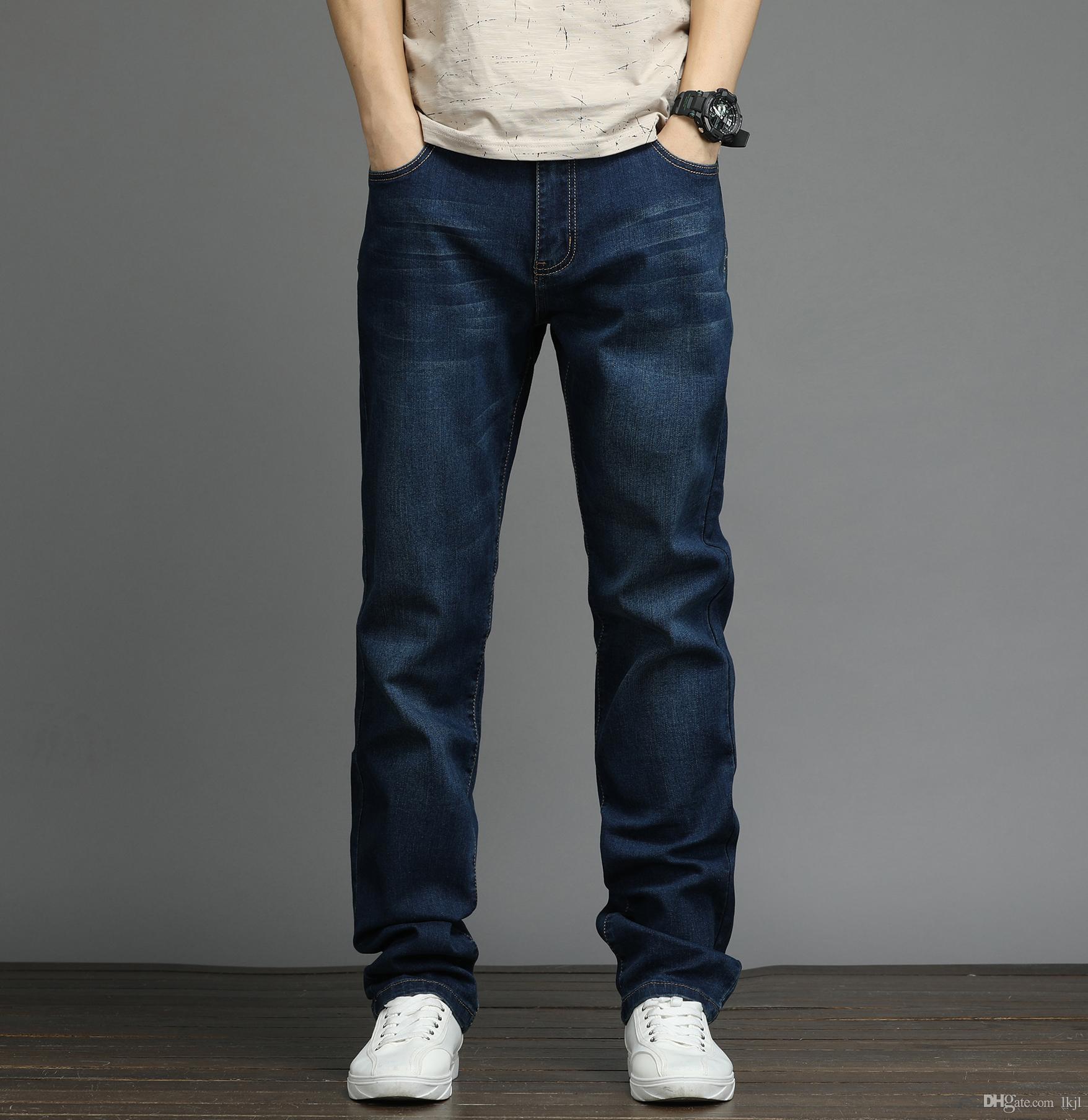 241b19efcb Compre Portlotus Jean Para Hombre Jumbo Talla Holgada Cena Estiramiento  Siéntate Cintura Más Alta Pantalones Más Grandes Pantalones De Cintura  Elástica ...