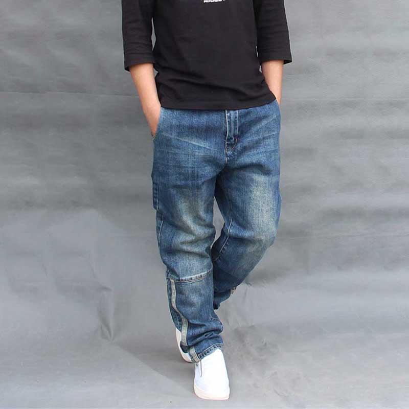 e55bd3d5cb3 Hip Hop Harem Jeans Men Loose Baggy Patchwork Denim Pants Side ...