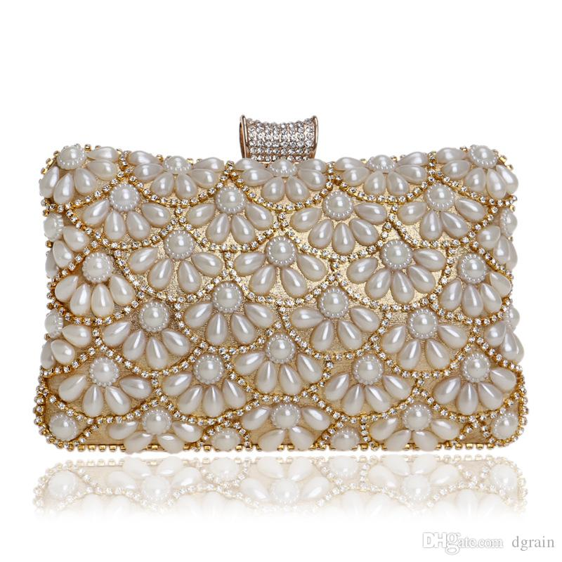 Top-handle Bags White Glass Pearl Bag For Women 2019 Fashion Handmade Pearl Purse Clutches Crossbody Bag Hollow Plastic Pearl Small Clutch
