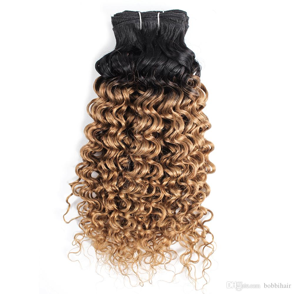 1B 27 Ombre Honey Blonde Peruvian Water Wave Curly Hair Weave Bundles Two Tone 1 Bundles 10-24 inch Brazilian Malaysian Human Hair Extension